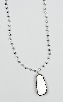 Laminin Teepee Silver Rondelle Beaded and White Stone Necklace