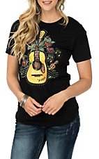 XOXO Art & Co. Black Yellow Guitar Graphic S/S Casual Knit Tee