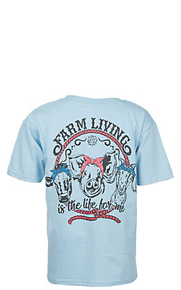 Lilly Paige Girls' Light Blue Farm Living Short Sleeve T Shirt by B.Jaxx