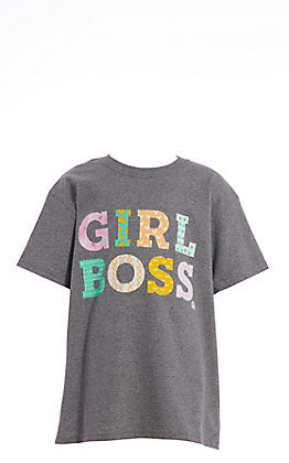 Girlie Girl Originals Girls' Grey Girl Boss Short Sleeve T-Shirt