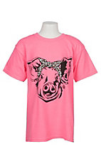 Girlie Girl Originals Girls Pink Leopard Pig S/S T-Shirt