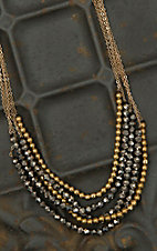 Pannee Layered Gold Chain with Gold & Hematite Beads Necklace