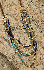Pannee Blue-Tone Crystals & Gold Beaded Multi-Row on Tan Suede Necklace