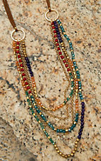 Pannee Multicolor Crystal & Gold Beaded Multi-Row on Tan Suede Necklace