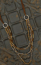 Pannee Crystal & Gold Beaded Multi-Row on Tan Suede Necklace