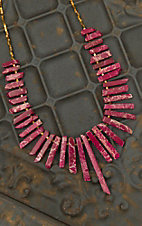 Pannee Berry Red Textured Stick Stone with Gold Beaded Chain Collar Necklace