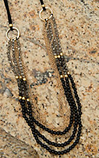 Pannee Smokey Crystal & Black Beaded Multi-Row on Black Suede Necklace