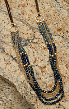 Pannee Blue Crystal & Gold Beaded Multi-Row on Tan Suede Necklace