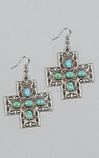 Laminin Yonder Silver Cross and Turquoise Stone Earrings
