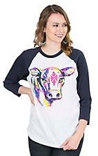 Crazy Train Women's White with Multi Aztec Cow Navy 3/4 Baseball Sleeves Casual Knit Top
