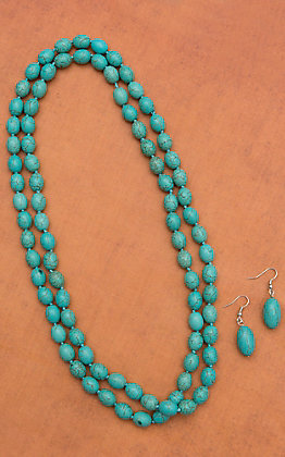 Oblong Turquoise Beaded Necklace Set