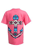 Couture Tee Company Girl's Neon Pink with Aztec Anchor Short Sleeve Tee