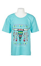 Girlie Girl Originals Girls Scuba Blue Serape Steer Skull S/S T-Shirt
