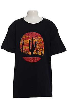 Jazzy Belle Youth Black Sunset Cactus Short Sleeve T-Shirt