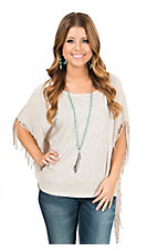 Karlie Women's Oatmeal Knit with Self Fringe Poncho Short Sleeve Tee