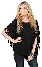 Karlie Women's Black Knit with Self Fringe Poncho Short Sleeve Tee