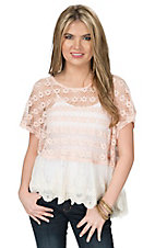 Vintage Havana Women's Peach Crochet with Lace Hem Short Sleeve Top