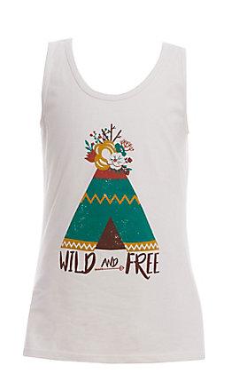 Jazzy Belle Girls' White Wild & Free Teepee Tank