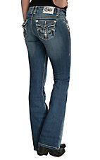 Cello Women's Medium Wash with Fleur De Lis Embroidery & Crystals Flap Pocket Boot Cut Jean- Plus Sizes