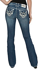 Cello Women's Medium Wash with Leather, Crystals & Studs Flap Pocket Boot Cut Jean