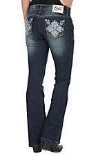 Cello Women's Dark Wash Open Pocket Embroidered Leather & Pearls Cross Boot Cut Jean