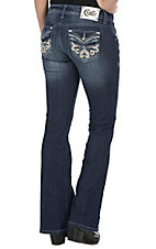 Cello Women's Medium Wash with Leather Swirl & Rhinestones Flap Pocket Boot Cut Jean
