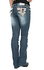 Cello Women's Medium Wash with Colorful Embroidered Flap Pocket Boot Cut Jeans
