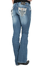 Cello Women's Medium Light Wash With Pocket Emboidery and Sequine Boot Cut Jeans