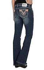Cello Women's Medium Wash with Patchwork and Rhinestone and Pyramid Stud Accents Open Pocket Boot Cut Jeans