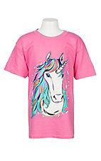 Girlie Girl Originals Girl's Pink Unicorn S/S T-Shirt