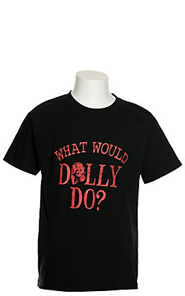 Girls' Black with Red What Would Dolly Do Graphic Short Sleeve T-Shirt