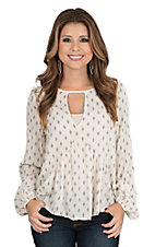 Vintage Havana Women's Ivory with Black Diamond Print Long Cinched Sleeve Fashion Top