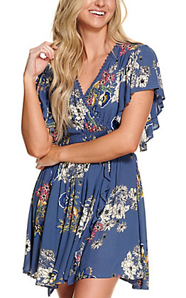 Angie Women's Blue with Floral Print V-Neck Flutter Short Sleeve Dress