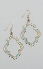 Laminin Women's Turquoise and Brown Gold Drop Earrings