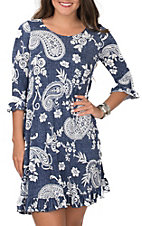 James C Women's Denim Print with White Paisley 3/4 Sleeves and Pockets Dress