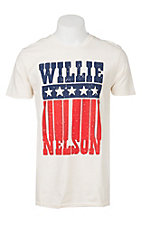 Zion Rootswear Men's White Willie Nelson Americana Flag Short Sleeve T-Shirt