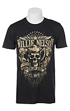 Zion Rootwear Men's Black Willie Nelson Genuine Outlaw Skull Short Sleeve T-Shirt