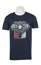 Zion Rootswear Men's Navy Willie Nelson Outlaw Music Short Sleeve T-Shirt