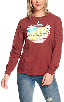 Cavender's Women's Burgundy with Palm Tree Graphic Long Sleeve T-Shirt