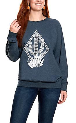 Rebellious One Women's Denim Blue Cactus Graphic Long Sleeve Sweatshirt