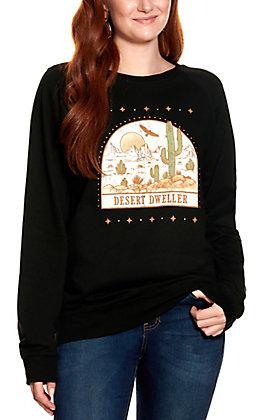 Rebellious One Women's Black Desert Dweller Graphic Long Sleeve Sweatshirt